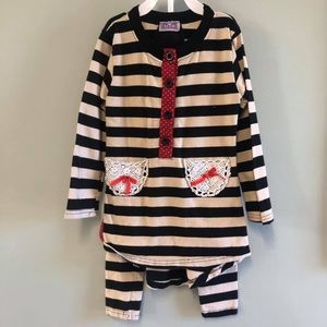 Miss B girls 2 pc boutique outfit bow stripes red